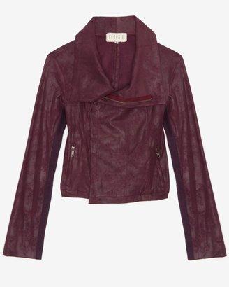 Georgie Exclusive Leather-like Moto Jacket: Plum