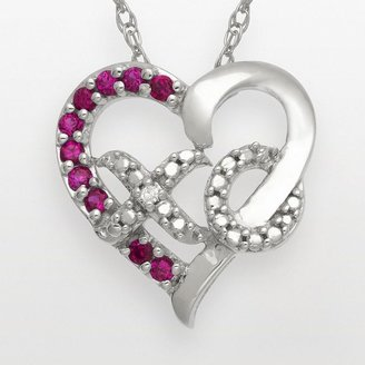 Xo Sterling silver lab-created ruby and diamond accent heart pendant