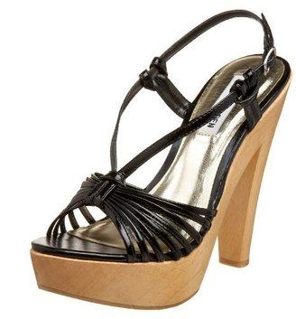 Steve Madden Women's Lenorah Strappy Hi Heel Wood Bottom Platform Sandal