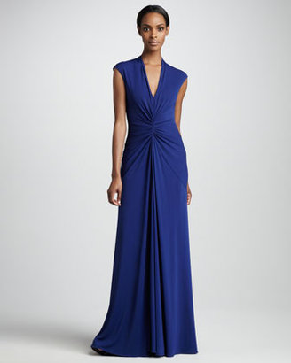 Nicole Miller Gathered V-Neck Gown