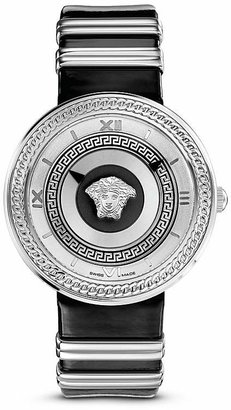 Versace V-Metal Icon Stainless Stain Watch with Black Leather Band, 40mm $1,395 thestylecure.com