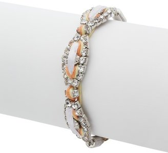 LOFT Neutral Cord, Crystal and Leather Bracelet