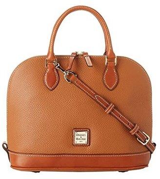 Dooney & Bourke Pebble Zip Zip Satchel (Black w/ Tan Trim) Satchel Handbags