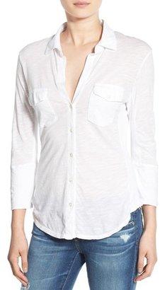 Women's James Perse Sheer Slub Panel Shirt $155 thestylecure.com