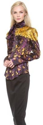 L'Wren Scott Long Sleeve Tie Neck Blouse