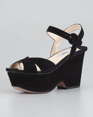 Prada Suede Crisscross Cutout Wedge Sandal, Black