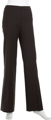 Lafayette 148 New York Straight-Leg Side-Zip Pants, Coffee Melange