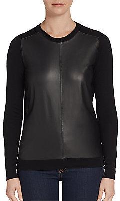 Theory Yulia Wool & Leather Sweater