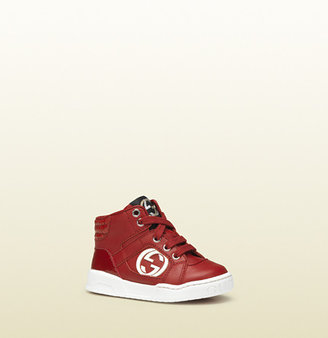 Gucci red leather high-top sneaker with red interlocking G detail