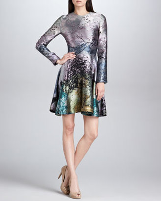 Mary Katrantzou Babelona Jacquard Long-Sleeve Dress