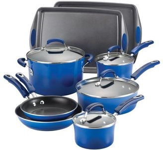 Rachael Ray 12-pc. Nonstick Porcelain II Cookware Set with Bakeware, Blue Gradient