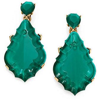 Oscar de la Renta Large Faceted Clip-On Drop Earrings