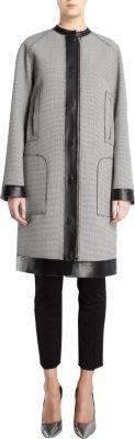 Lanvin Micro Houndstooth Check Leather Combo Coat
