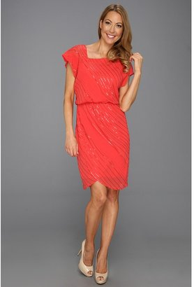 Vince Camuto Sequined Asymmetrical Neck Dress (Pink) - Apparel