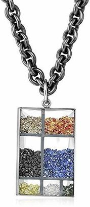 "Moritz Glik Kaleidoscope"" 18K White Gold Floating Color Diamonds and Color Sapphire Rectangular Pendant Necklace"