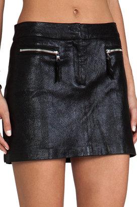 Milly Stretch Plonge Leather Mini Skirt