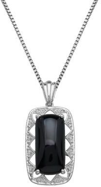 Lord & Taylor Sterling Silver Diamond and Onyx Pendant Necklace