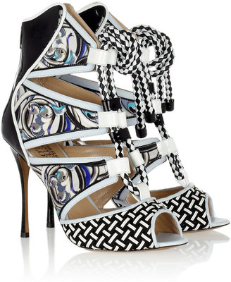 Nicholas Kirkwood Patent-leather and printed silk-twill sandals