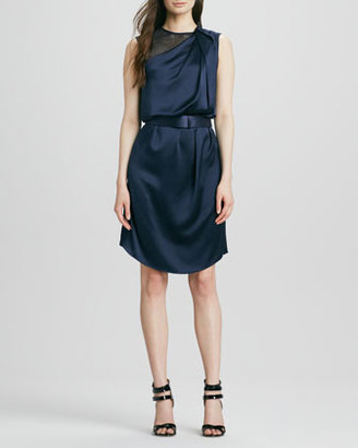 Halston Draped Satin Belted Dress