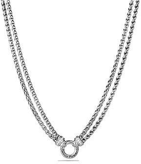 David Yurman Double Wheat Chain Necklace with Diamonds, 18