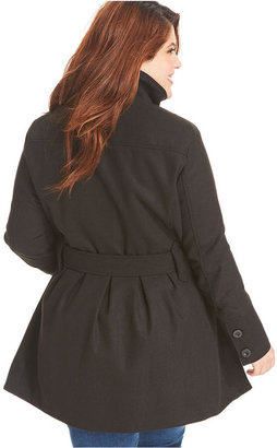 Dollhouse Plus Size Coat, Double-Breasted Belted Pea Coat