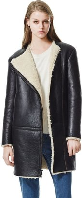 Theory Gabrinia Coat in Brookhaven Leather