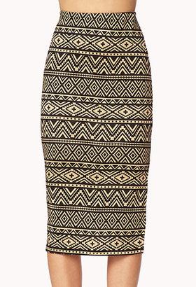 Forever 21 Chic Tribal Print Midi Skirt