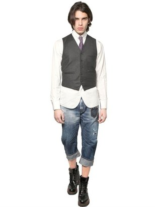 DSquared Pinstriped Wool Flannel & Knit Vest