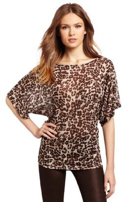 Michael Stars Women's Leopard Print Off Shoulder Dolman Shirt