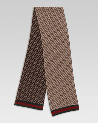 Gucci Diamante-Pattern Knit Scarf with Web Detail
