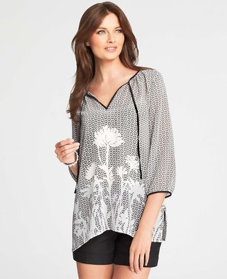 Ann Taylor Shadow Floral Tie Neck Tunic