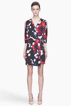 Diane von Furstenberg Red and black Autumn printed wrap dress