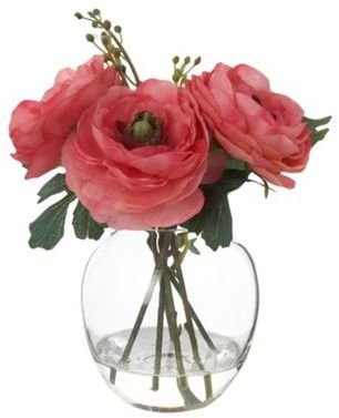 Grey Rose by Jane Packer Pink Ranunculus in a fishbowl