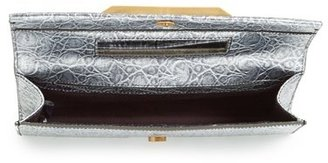 Brian Atwood 'Ingrid' Metallic Leather Clutch