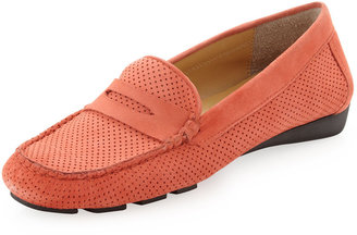 Neiman Marcus Rob Perforated Loafer, Coral