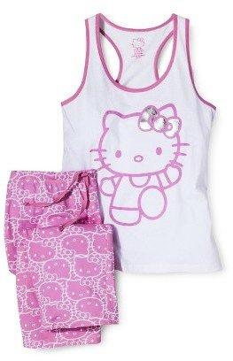 Hello Kitty Racerback Tank and Crop Pant PJ Set Pink