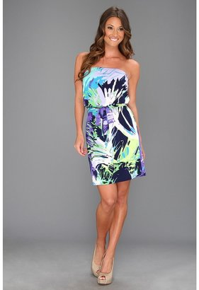 Laundry by Shelli Segal Strapless Tropical Print Dress (Violetta Multi) - Apparel