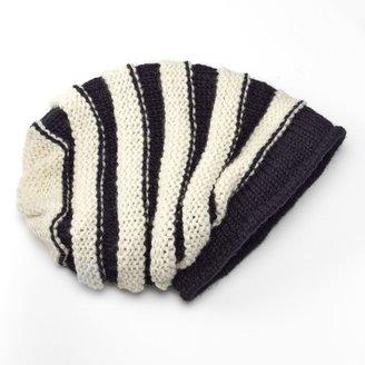 Sijjl SIJJL Black & White Stripe Wool Beanie Hat