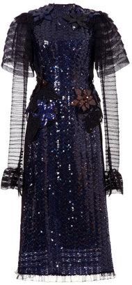 Marc Jacobs Navy Herringbone Sequin Long Sleeve Dress