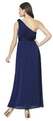 Women's Satin OneShoulder Rosette Maxi Bridesmaid Dress Fashion Colors - TEVOLIO