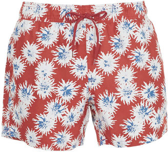 Topman Red Pattern Swim Shorts
