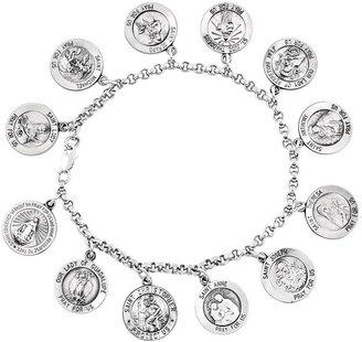 """Sterling 7"""" Saint Disc Dangle Rolo Link Bracelet"""