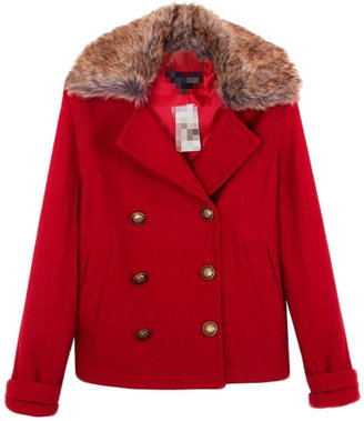 Choies Red Wool Coat With Fur Collar