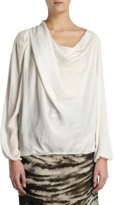 Lanvin Draped Georgette Blouse