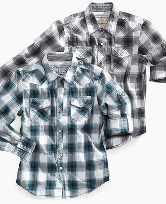 GUESS Shirt, Boys Dakota Plaid Shirt