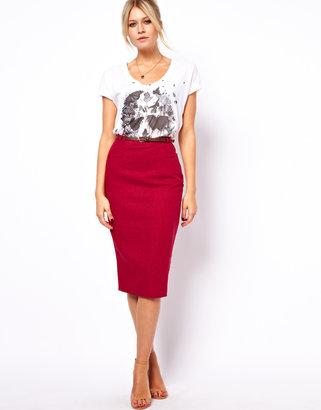 Asos Linen Pencil Skirt with Belt