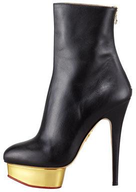 Charlotte Olympia Lucinda Golden Platform Ankle Boot