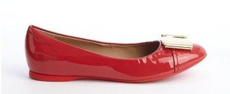 Salvatore Ferragamo metallic red patent leather logo buckle 'Sun' flats