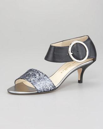 Bettye Muller Bridget Glitter-Napa Kitten Heel Sandal