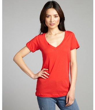 LnA cherry cotton v-neck short sleeve t-shirt
